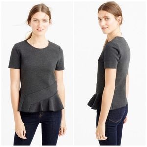 J CREW Structured Flutter Hem Tee Charcoal Gray L